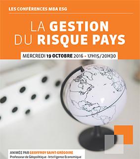 Conférence professionnelle 19.10 - Gestion du risque Pays - MBA ESG, Master Commerce international