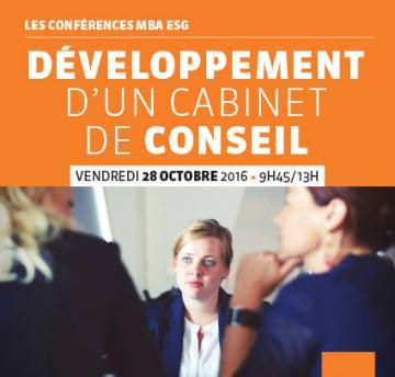 Conférence professionnelle 28/10 : « Création et Développement d'un Cabinet de Conseil ». Master Stratégies et consulting