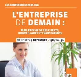 """Conférence professionnelle 09.12 MBA ESG """" L'entreprise de demain"""" - Master Communication et événementiel"""